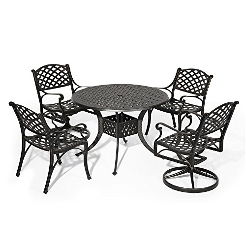 """Nuu Garden Outdoor Patio Furniture 5 Piece Powder coated Aluminum Dining Set with 42"""" Round Table, 2 Arm Chairs and 2 Swivel Rockers, Antique Bronze (no cushions) (Aluminum Table Round Cast Tea)"""