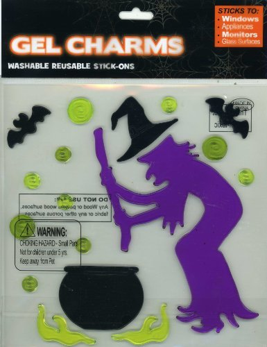 Halloween Witch and Cauldron Gel Window Clings