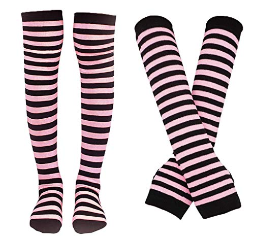 Bienvenu Colorful Rainbow Stripe Leggings Long Knit Gloves Socks Set Party Costume Accessory,Glove Sock Set_Pink