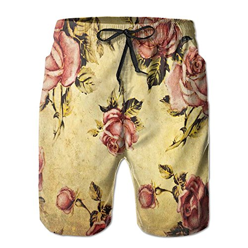 Richard Lyons Old-Fashioned Victorian Style Rose Pattern With Dramatic Color Boho Art Design Men's Quick Dry Beach Shorts Casual Comfortable Surf Shorts XL