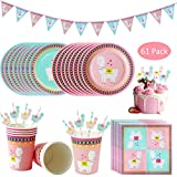 61 Pack Alpaca Llama Disposable Tableware Set, DreamJ Llama Party Supplies with Llama Alpaca Plates Cups Napkins Banner Straws Cake Toppers for Boys,Girls,Baby Showers Birthday Party Favors Decorations