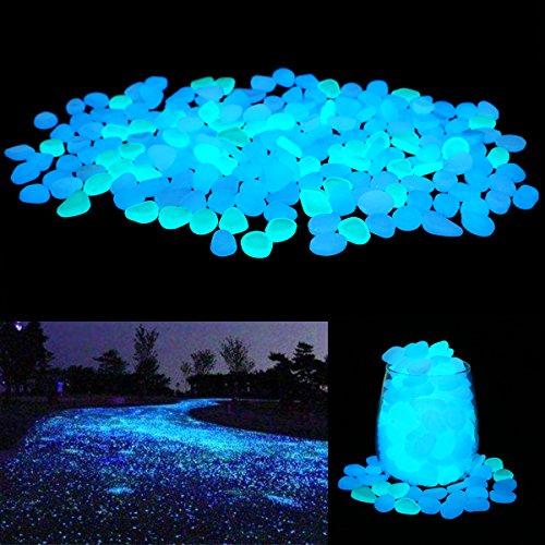 Yard Art Stone (Unime Glow in the Dark Garden Pebbles Stones Rocks for Yard and Walkways Decor, DIY Decorative Luminous Stones in Blue (200 PCS))