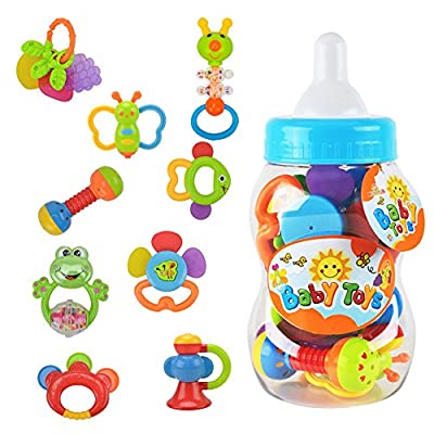 Rattle Teether Set Baby Toys - Wishtime 9pcs Shake and Grap Rattle Toy for Newborn with Giant Bottle Gift for 0-12 Month Baby Infant Newborn Chritsmas Gift by Juding that we recomend personally.