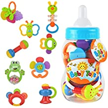 Wishtime Rattle Teether Set Baby Toys 9pcs Shake and Grap Baby Hand Development Rattle Toys for Newborn Infant with Giant Bottle Gift for 3 6 9 12 18Month