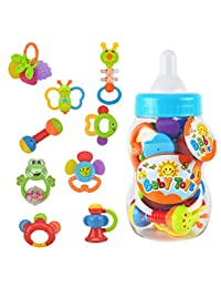 Rattle Teether Set Baby Toys - Wishtime 9pcs Shake and Grap Rattle Toy for Newborn with Giant Bottle Gift for 0-12 Month Baby Infant Newborn Chritsmas Gift BOBEBE Online Baby Store From New York to Miami and Los Angeles