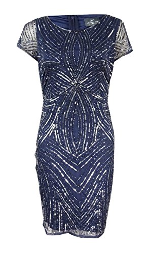 Adrianna Papell Women's Petite Beaded Sequined Dress (12P, Navy/Gunmetal) by Adrianna Papell