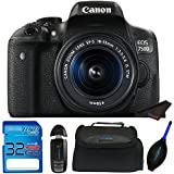 Canon EOS 750D Digital SLR Camera with 18-55mm IS STM + 32GB Pixi-Starter Accessory Bundle