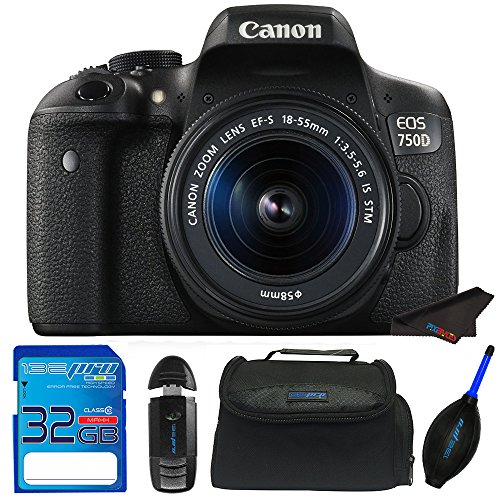 دوربین SLR دیجیتال Canon EOS 750D / T6i دیجیتال با 18-55 میلی متر است بسته دسته لوازم جانبی Pixi-Starter STM 32 GB