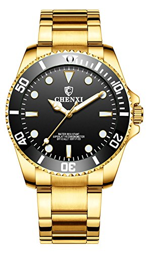 - Men Rotatable Bezel Black Dial Luminous Watch Gold Stainless Steel Band Waterproof Analog Quartz Watches (Black)
