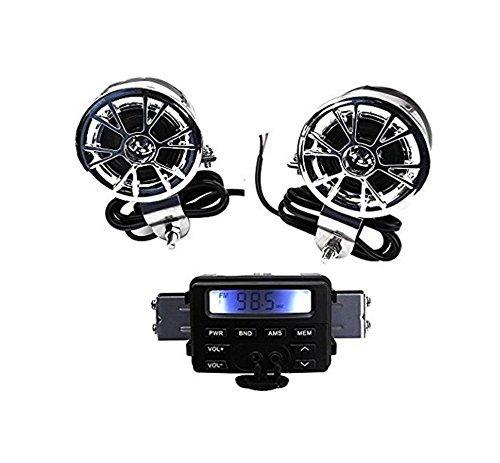 New 12V Waterproof ATV Motorcycle Motorbike Scooter Audio System Handlebar FM MP3 Stereo Speaker Audio Sound System AUX Input 2 Speaker for Cruiser Biker Chopper Cafe Racer ATV