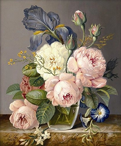 Diamond Mosaic Diamond Embroidery Beads Love Vase Peony Flowers Diamonds Cross Stitch Painting (30x40) CM ()