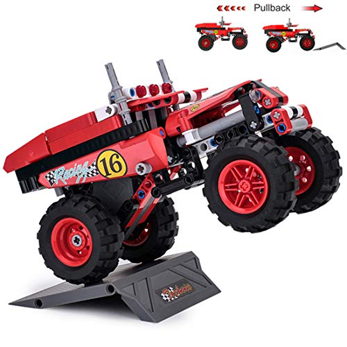 KILOTOY Pullback Pickup Truck Car Racer Model with Motor Power Building Blocks Assembly Puzzles Bricks Educational Stacking Toys Great Gift for Kids.