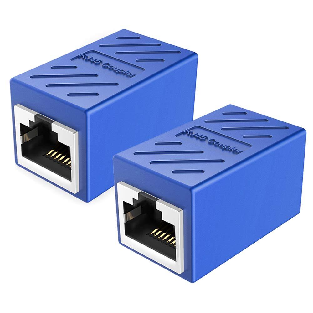 PLUSPOE RJ45 Coupler Ethernet Inline Connector Plugs for Cat5 Cat5e Cat6e Cat7 Cable (2 Pack- White)