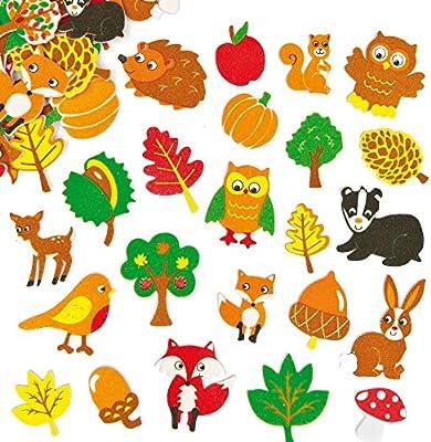 Baker Ross Pegatinas de espuma de amigos del bosque que los niños pueden usar para decorar tarjetas y manualidades (pack de 100).: Amazon.es: Hogar