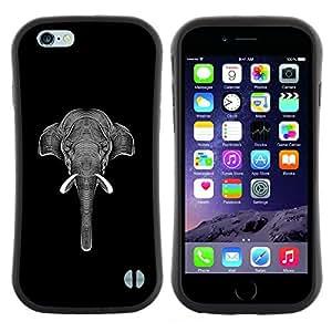 "Hypernova Slim Fit Dual Barniz Protector Caso Case Funda Para Apple (5.5 inches!!!) iPhone 6 Plus / 6S Plus ( 5.5 ) [Negro White Elephant Art Tinta""]"
