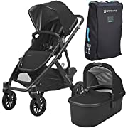 2018 UPPABaby VISTA Stroller - Jake (Black/Carbon/Black Leather) + VISTA Travel Bag