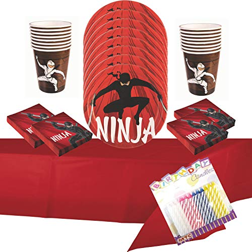 Ninja Party Supplies Pack Serves 16: Dinner Plates, Luncheon Napkins Cups and Table Cover with Birthday Candles (Bundle for 16)]()