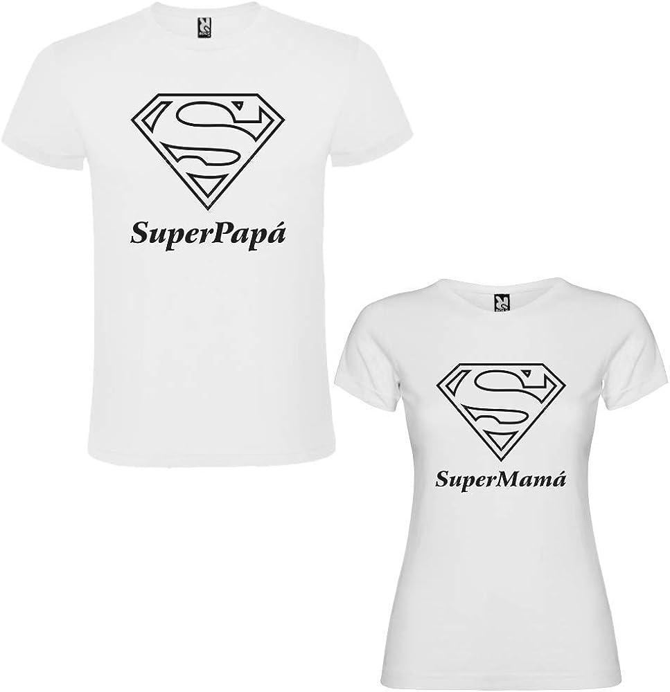 Pack de 2 Camisetas Blanca para Parejas SuperPapa y SuperMama Negro (Mujer Tamaño L + Hombre Tamaño S): Amazon.es: Ropa y accesorios