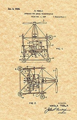 Nikola Tesla Flying Car 1928 Patent Print - (8.5