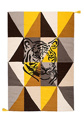VARANASSI Rug Collection Circus Tiger, Multicolor Yellow, TC3W150TY