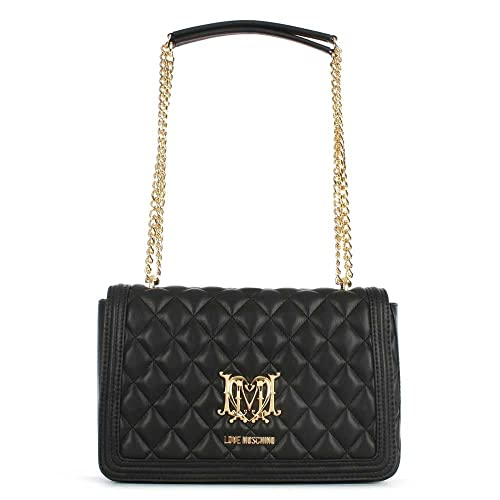 b17f307076 Love Moschino Black Quilted Shoulder Bag Black Leather: Amazon.co.uk ...