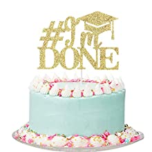 Gold Glitter I'm Done Cake Topper - Graduation Cake Toppers, Congrats Grad Party Decorations Supplies - High School/College Graduate Cake Decorations