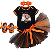 Halloween Newborn Kid Baby Girl Outfits Clothes, Fashion Romper + Skirt + Headband + Shoes Set Black Happy Halloween 12-18 Months