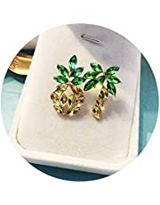 GoodCorsetMall Women's stud earrings Pineapple Earrings Coconut Tree Earring Women Colorful Crystal Jewelry Hawaiian Vacation Beach Party Daily with Gift Box