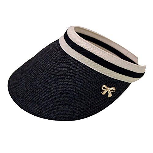 CLARA Women Summer Sun Visor Large Brim Straw Beach Sun Hat Outdoor Sports Cap Black