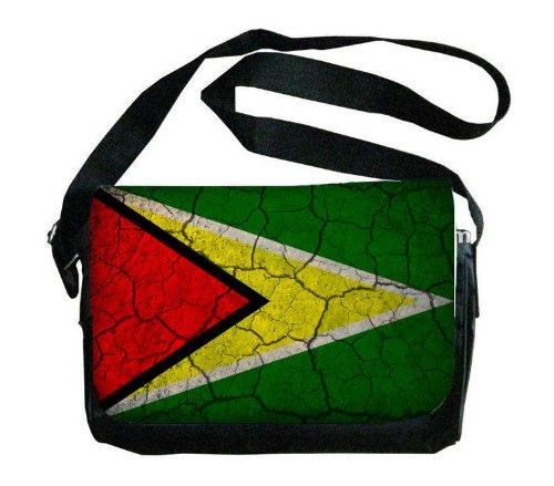 Guyana Flag Crackledデザインメッセンジャーバッグ   B00FMFL37W