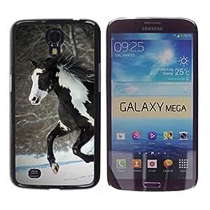 TECHCASE**Cubierta de la caja de protección la piel dura para el ** Samsung Galaxy Mega 6.3 I9200 SGH-i527 ** Horse Colorful Indian White Brown Winter Free