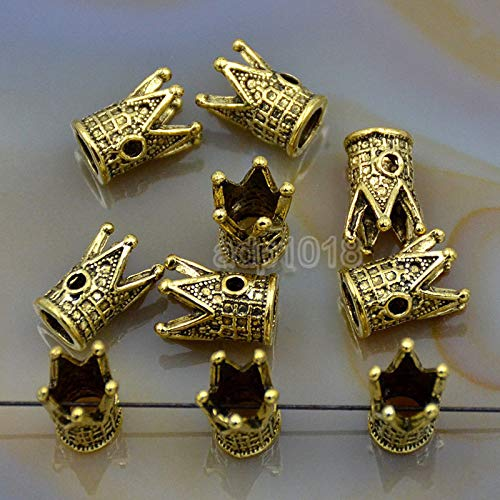Solid 10 Pcs Metal Dumbbell, Crown, Anchor, Fox, Owl, Skull, Lion, Dragon Bracelet Connector Spacer Charm Beads (Gold, Crown (9x12mm))