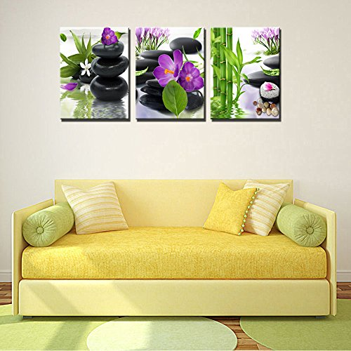 3 Panel Modern Spa Bamboo Zen Stone Purple Flowers Photograph Canvas Painting for Home Wall Decorative by ModeArt (Image #3)