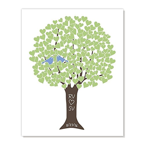 Customized Art Print Love Tree: Wedding Anniversary Valentine Gift, Personalized Colors & Names