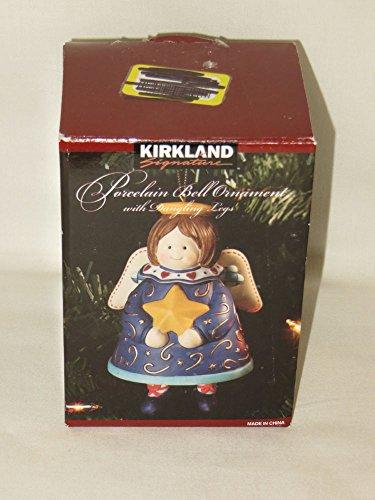 Urparcel Kirkland Porcelain Christmas Angel Bell Ornament with Dangling Legs