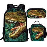Dinosaur Print Kids Backpack Schoolbag Bookbag Lunch Bag Pencil Pouch 3 Piece Set