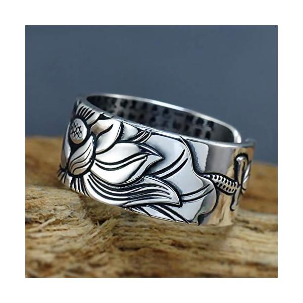 Style4-Nature – Anello in argento massiccio (999), motivo con fiore di loto, anello mantra Buddista, per felicità e orgoglio