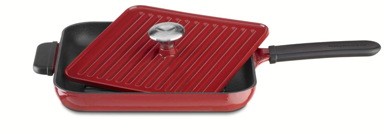 b30c94d61c4 Amazon.com  KitchenAid KCI10GPER Cast Iron Grill and Panini Press Cookware  - Empire Red  Kitchen   Dining