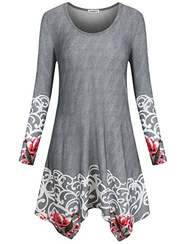 SUNGLORY A-Line Dress, Women's Irregular Hem Loose Fit Shirt Dress Top With Pocket - Loose Fit Printed Pocket