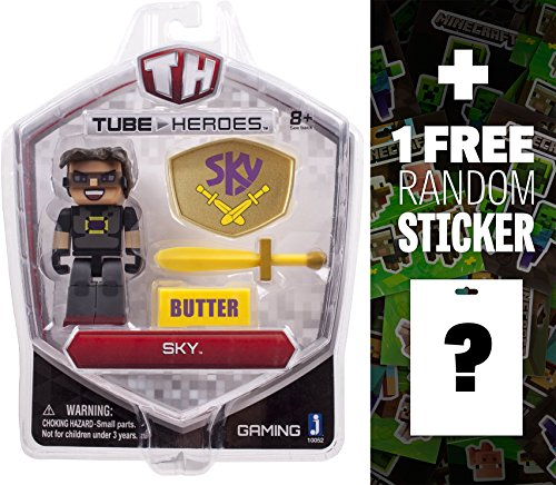Sky: Tube Heroes Mini Action Figure Series + 1 FREE Official Minecraft Mini-Sticker Sheet Bundle