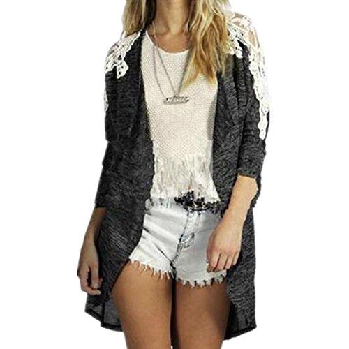 Dihope Femme Automne Veste Manches Longues Patchwork Dentelle Top Outwear Casual Cardigan Manteau Coat Gris Fonc