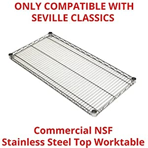 "Seville Classics SHE18308SH Commercial NSF Stainless Steel Top Worktable Shelf, 18"" D x 48"" W x 1"" H"