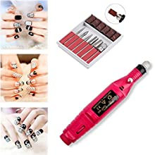 Youteo Electric Nail Drill Kit Portable Pen Shape Nail Drill Machine with 6 Acrylic Gel Remover Manicure Pedicure Tools for Home,Salon