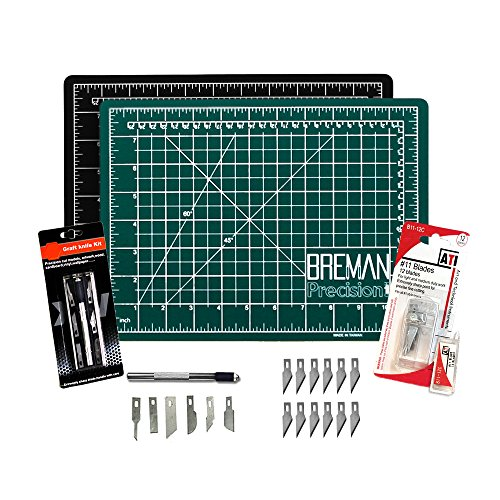 Cutting Mat & Craft Knife Set - Deluxe Package With Premium 9X12 Self Healing Cutting Mat Precision 7 Piece Craft Hobby Knife Set & 12 Replaceable Craft Blades Perfect for Arts and Crafts of All Kinds