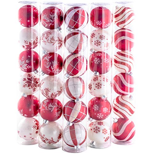 Round Ornament Round Ornament (Shatterproof Christmas Ball Ornaments with Hook Hangers. Plastic Red and White Winter Themed Bulbs 30 Pack. Small 2.36in Durable Set Great for Indoor/Outdoor Tree Decoration. Kid and Pet Friendly)