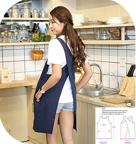 KKTech Japan Style Soft Cotton Linen Apron with Two Side Pockets Solid Color Halter Cross Bandage Aprons Kitchen Cooking Clothes (Navy Blue)