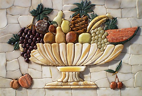 Tile Mosaic Art Accent Wall (Gorgeous Fruit Bowl Stone Art Mosaic Hand Made Kitchen Backsplash)