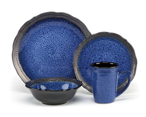 Cuisinart CDST1-S4JEB Stoneware Jenna Blue Collection 16-Piece Dinnerware Sets