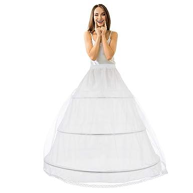 reputable site 48176 2d6bb LONGBLE Reifrock Brautkleid Petticoat Unterrock, Tüll Reifrock Krinoline -  3 Ring verstellbar Underskirt Damen lang Unterröcke für Hochzeitskleider ...