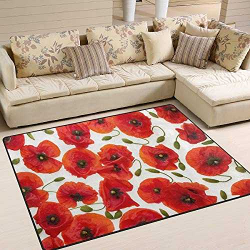 - ALAZA Red Poppy Flower Floral Print Area Rug Rugs for Living Room Bedroom 7' x 5'